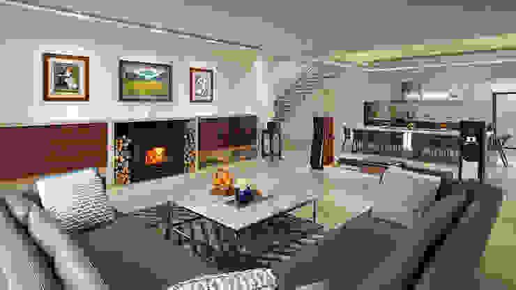 桃園大溪 自在居所 现代客厅設計點子、靈感 & 圖片 根據 ACE 空間制作所 現代風