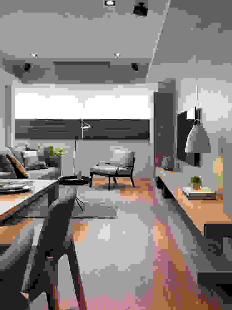 台北市 信義區 林宅 中古屋空間規劃風格重塑 现代客厅設計點子、靈感 & 圖片 根據 御見設計企業有限公司 現代風