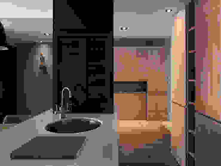 Pasillos, vestíbulos y escaleras de estilo moderno de 御見設計企業有限公司 Moderno