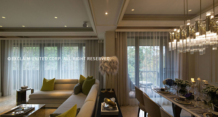 臺北吳宅 现代客厅設計點子、靈感 & 圖片 根據 京璽國際 現代風
