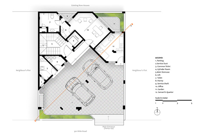 Ground Floor Plan of Residential Bungalow at Indore, Madhya Pradesh: modern  by SDMArchitects,Modern