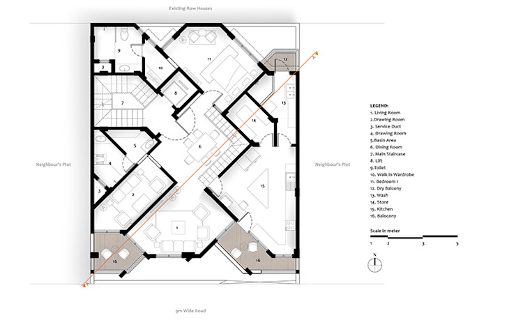 First Floor Plan of Residential Bungalow at Indore, Madhya Pradesh: modern  by SDMArchitects,Modern