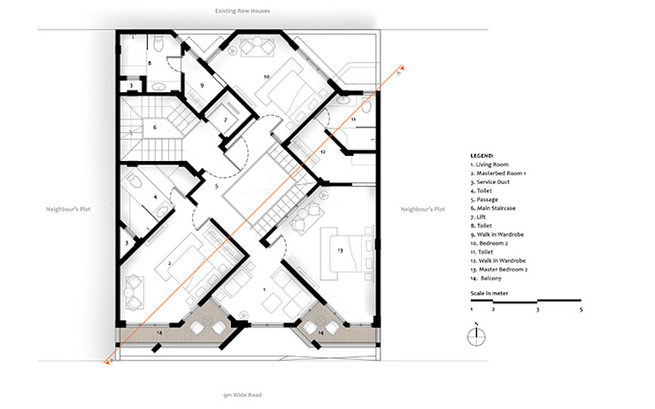 Second Floor Plan of Residential Bungalow at Indore, Madhya Pradesh: modern  by SDMArchitects,Modern
