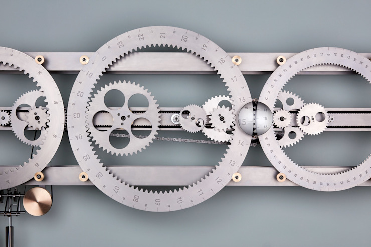 clock, clockdesign, kinetic art, concept design, timepiece, stainless steel van Studio Kim haagen Industrieel IJzer / Staal