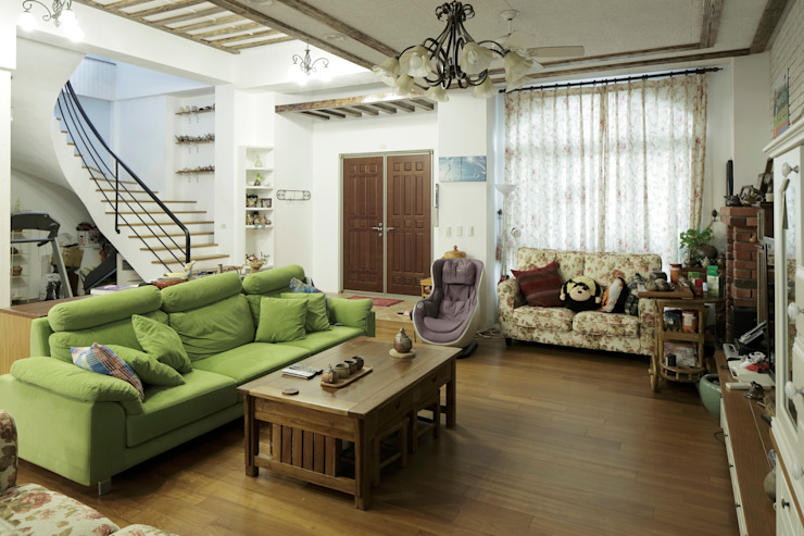 Lake View Villa 湖濱私別墅 Rustic style living room by DIANTHUS 康乃馨室內設計 Rustic