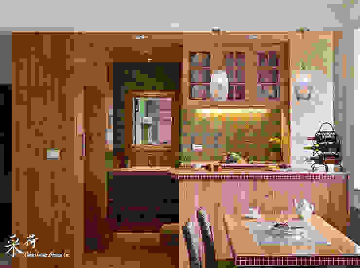 雙溪山居-鄉村風格 Color-Lotus Design 廚房儲櫃 實木 Pink