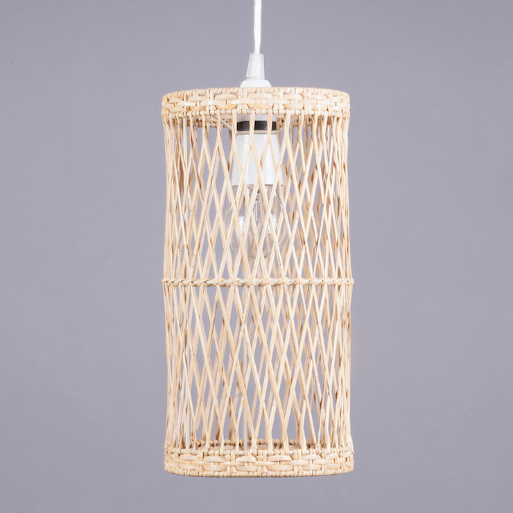 Milton Easy to Fit Light Shade Wicker Woven Cylinder Litecraft Living roomLighting