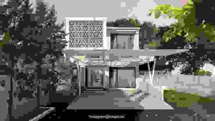 Renovasi Fasad dan penambahan lantai 2 Idealook Rumah tinggal Beton White