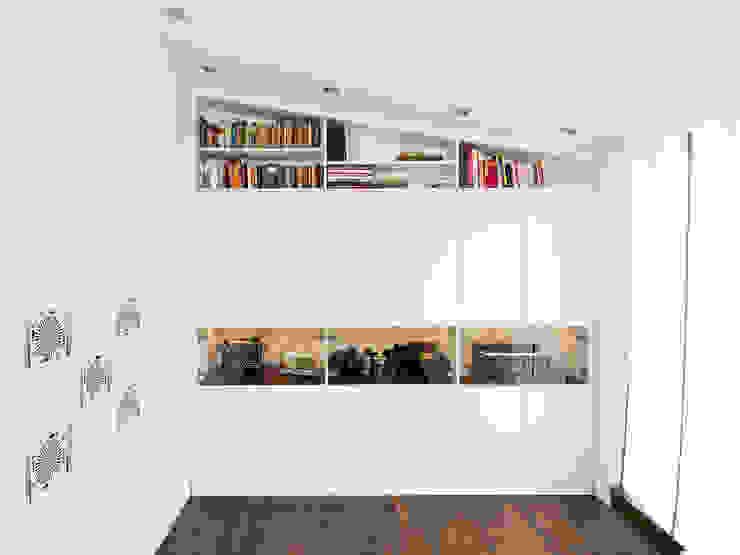 einbauschrank als Sammlerschrank mit beleuchteter Vitrine urbana möbel Flur, Diele & TreppenhausAufbewahrungen Holzwerkstoff Weiß