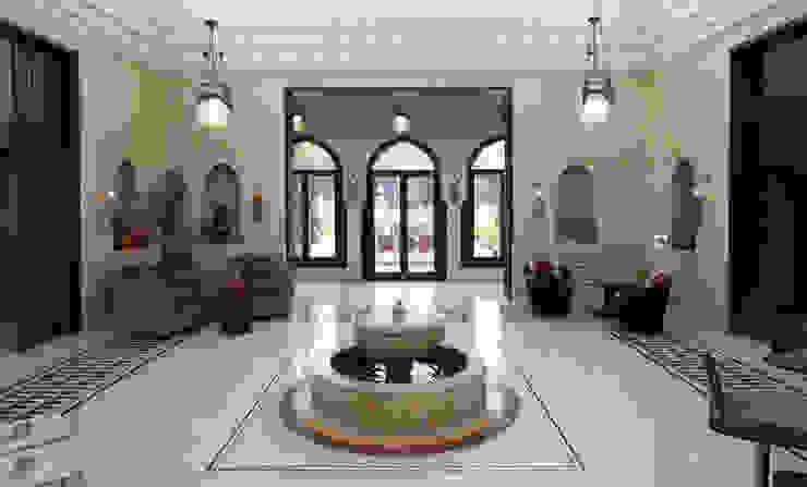 House atrium with fountain Коридор, прихожая и лестница в средиземноморском стиле от Design Zone Средиземноморский Мрамор