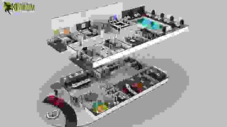 Multi Story Hotel 3D Floor Plan Design Ideas by Yantram floor plan designer South Africa by Yantram Architectural Design Studio Modern Concrete