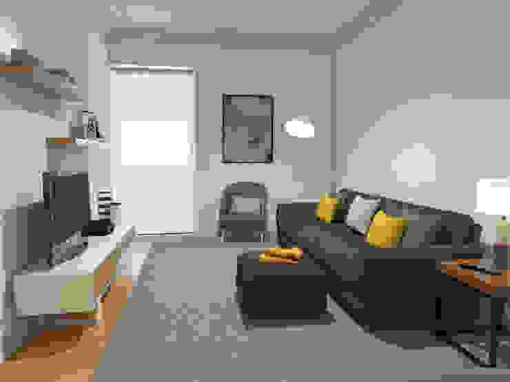 Apartamento BA14.3 - sala de estar - simulação 3D The Spacealist - Arquitectura e Interiores Sala de estarAcessórios e Decoração