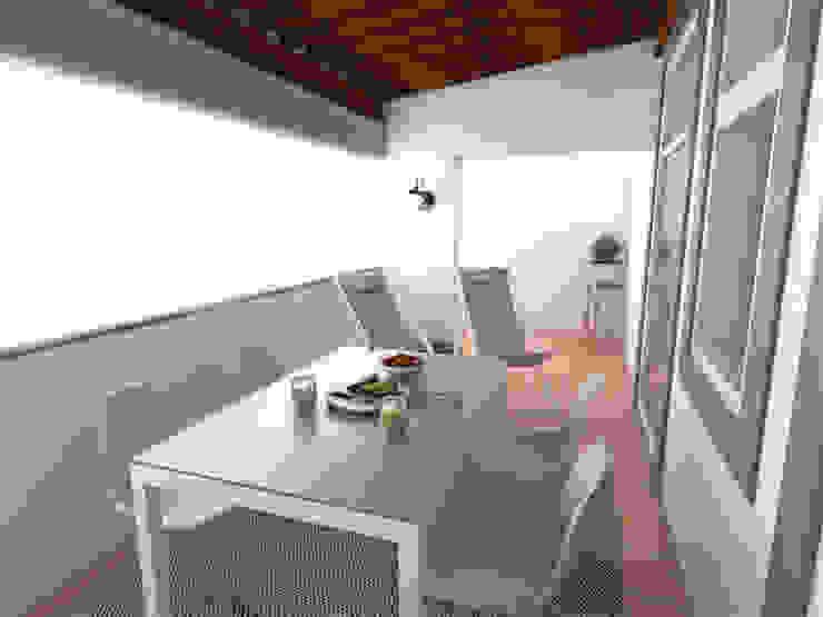 Apartamento BA14.3 - Varanda - simulação 3D The Spacealist - Arquitectura e Interiores Varanda, marquise e terraçoAcessórios e decoração
