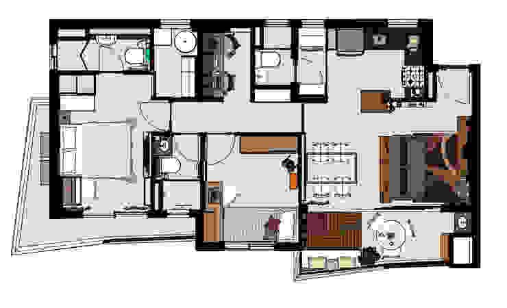 Dormitorios modernos de Ladrilho Urbanismo e Arquitetura Moderno Tablero DM