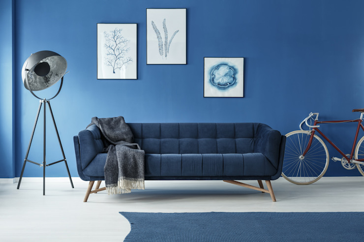 Blue sofa homify Living roomSofas & armchairs Cotton Blue
