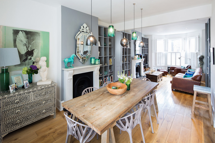 Double height crittall style extension Eclectic style dining room by HollandGreen Eclectic