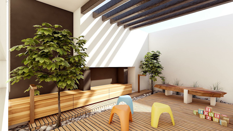 Modern balcony, veranda & terrace by Modulor Arquitectura Modern Concrete