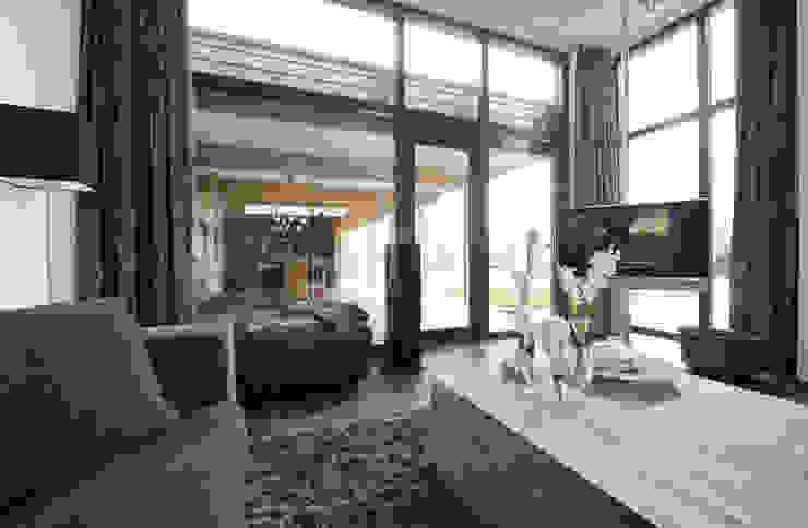 Villa Bleiswijk woonkamer met doorzicht op de buiten eettafel Moderne woonkamers van Studio Leon Thier architectuur / interieur Modern Hout Hout