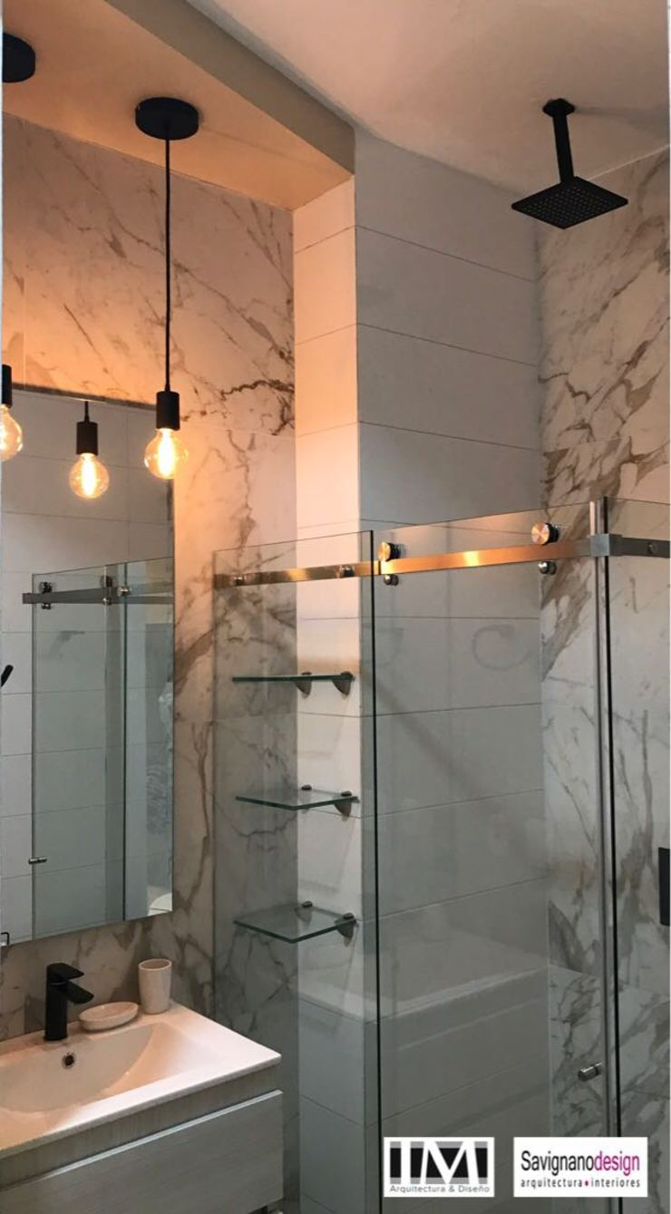 Diseño y construccion (Reforma y remodelacion) – Apto de soltero – Barranquilla Baños de estilo industrial de Savignano Design Industrial