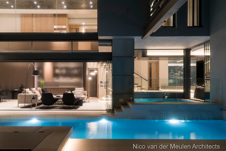 Swimming Pool & Entertainment Area Modern houses by Nico Van Der Meulen Architects Modern