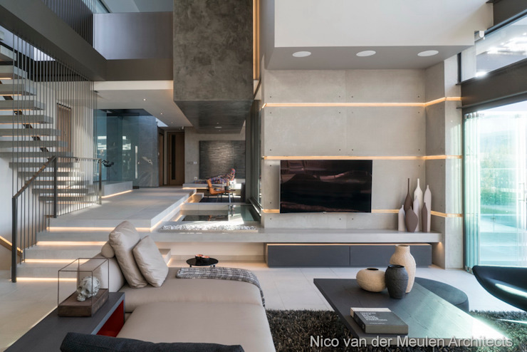 TV Lounge Modern living room by Nico Van Der Meulen Architects Modern Concrete
