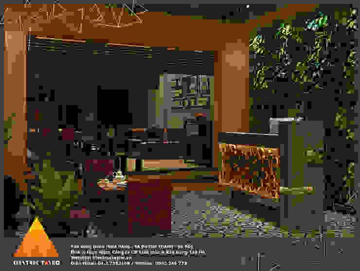 Phối cảnh tầng 1 khu vực quầy Lễ tân Phòng ăn phong cách mộc mạc bởi homify Mộc mạc