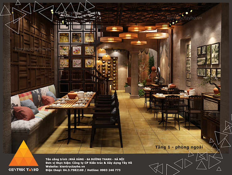 Tầng 1 - Phòng ngoài Phòng ăn phong cách mộc mạc bởi homify Mộc mạc