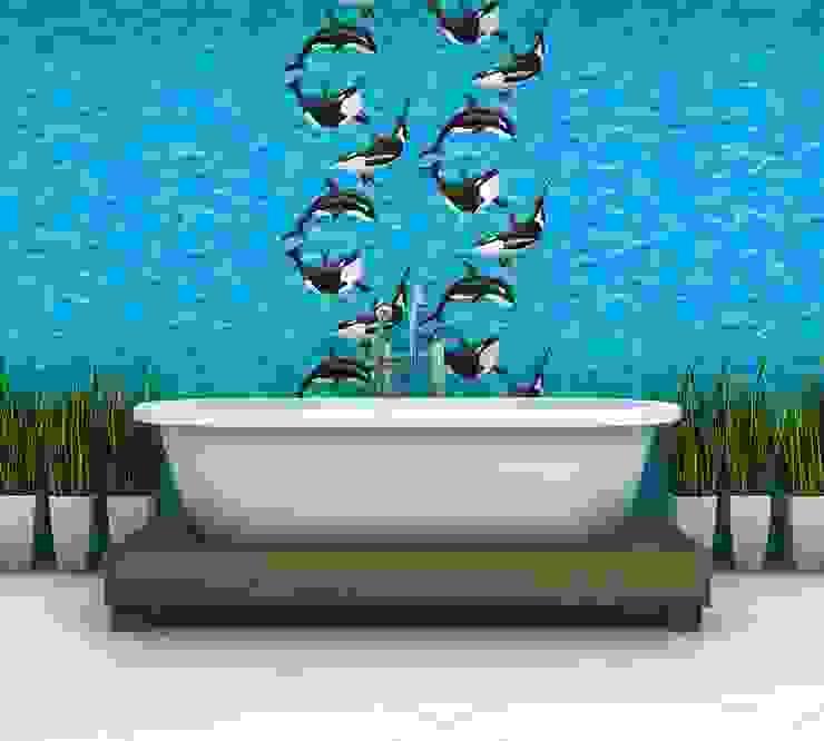 Papel pintado olas de mar con orcas de Papel pintado para paredes Gaulan Ecléctico