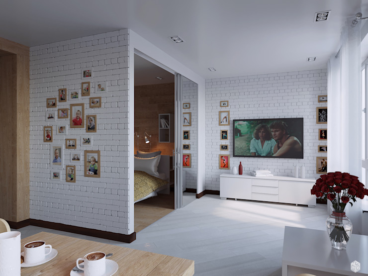 """Квартира - студия """"White bricks"""" Гостиная в стиле модерн от 2GO Design Studio Модерн Мрамор"""