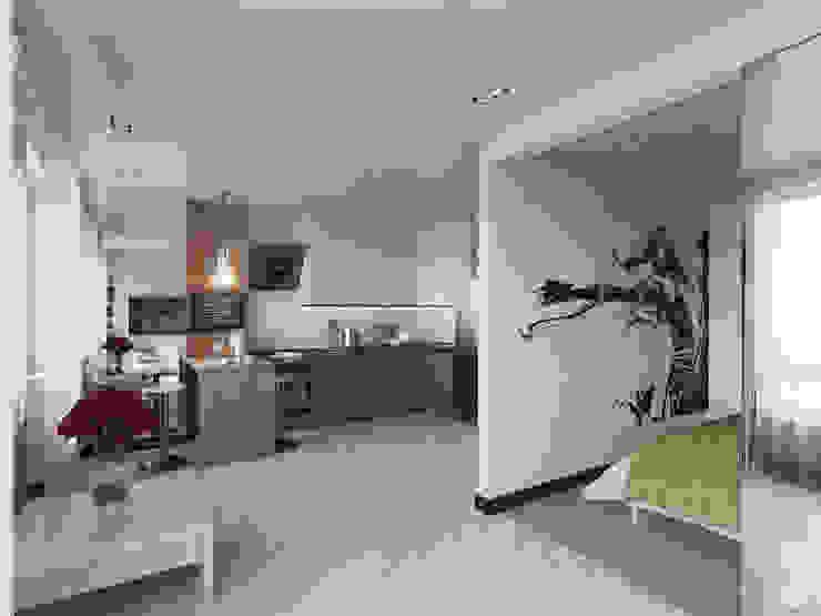 """Квартира - студия """"White bricks"""" Гостиная в стиле модерн от 2GO Design Studio Модерн Дерево Эффект древесины"""