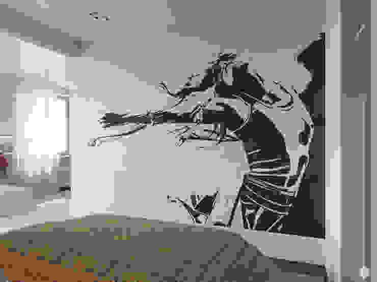 Квартира – студия <q>White bricks</q> Спальня в стиле модерн от 2GO Design Studio Модерн Бетон