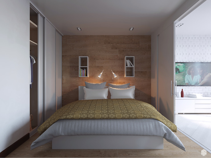 Квартира – студия <q>White bricks</q> Спальня в стиле модерн от 2GO Design Studio Модерн Дерево Эффект древесины