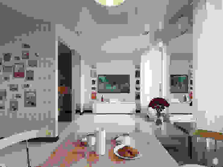 """Квартира - студия """"White bricks"""" Гостиная в стиле модерн от 2GO Design Studio Модерн Кирпичи"""