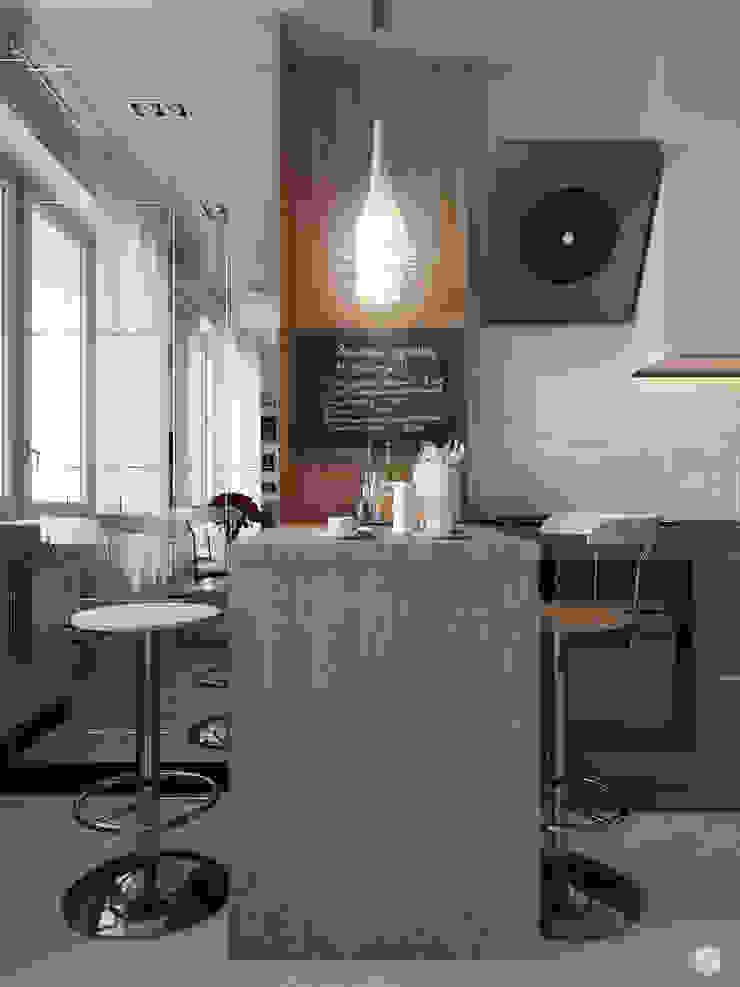 "Квартира - студия ""White bricks"" Кухня в стиле модерн от 2GO Design Studio Модерн Дерево Эффект древесины"