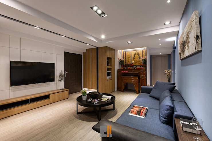 Living room by 築川設計, Modern