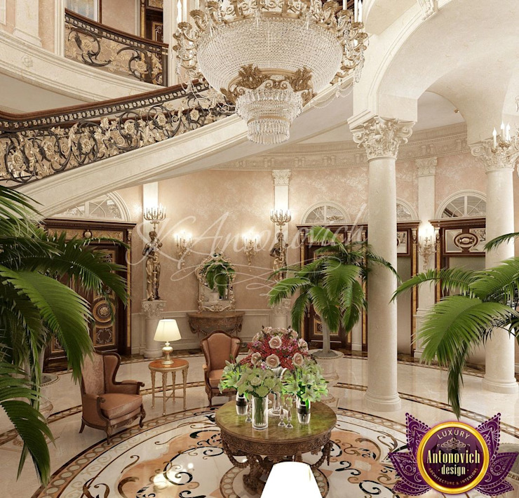 ​ Villa Design in Colombo from Katrina Antonovich Classic style corridor, hallway and stairs by Luxury Antonovich Design Classic