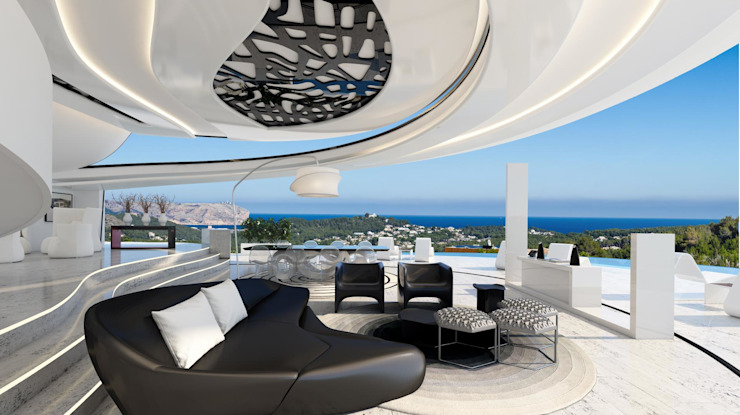 Spectacular lounge of Villa Centauro Modern Living Room by Miralbo Urbana S.L. Modern Concrete