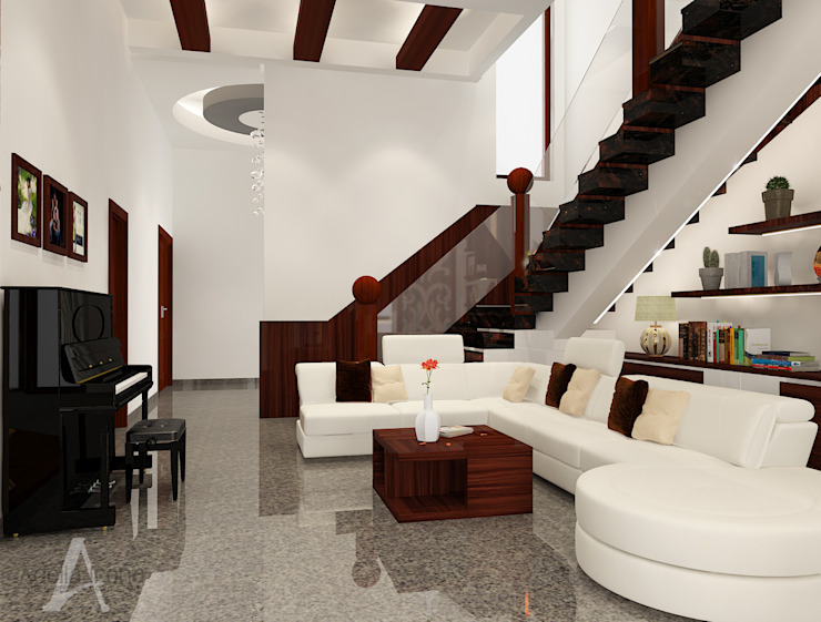 Ruang Keluarga bergaya campuran antara etnik dan modern Ruang Keluarga Modern Oleh AIRE INTERIOR Modern Kayu Wood effect