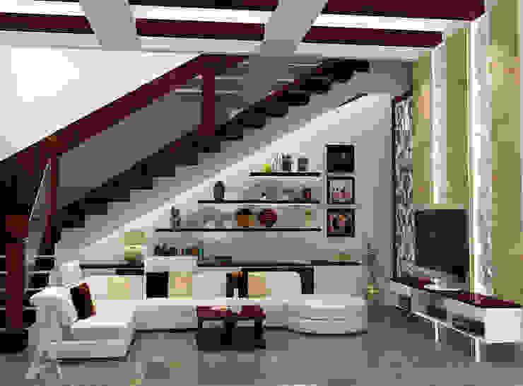 Ruang Keluarga bergaya campuran antara etnik dan modern Ruang Keluarga Modern Oleh PEKA INTERIOR Modern Kayu Wood effect