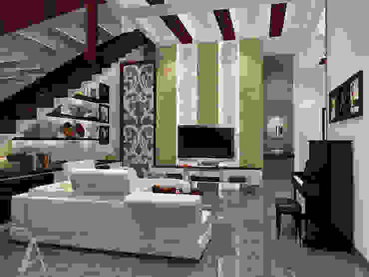 Ruang Keluarga bergaya campuran antara etnik dan modern Ruang Keluarga Modern Oleh AIRE INTERIOR Modern Batu