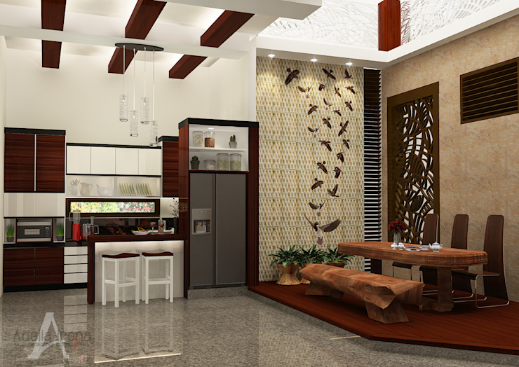 Rumah Bergaya Etnik yang Dikemas Lebih Modern Ruang Makan Modern Oleh AIRE INTERIOR Modern Kayu Wood effect