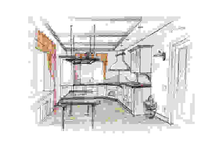 Кухня-столовая (вид 2) от Вадим Галина Кожевниковы Кантри