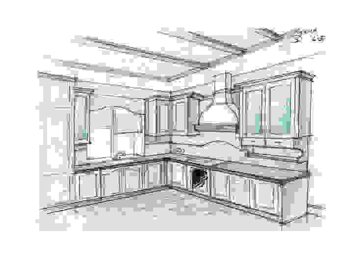 Кухня-стовая 1 этаж (2 вариант) от Вадим Галина Кожевниковы Кантри