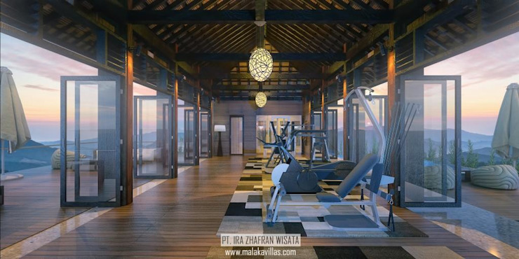 Fitness Center View Hotel Tropis Oleh Skye Architect Tropis Kayu Wood effect