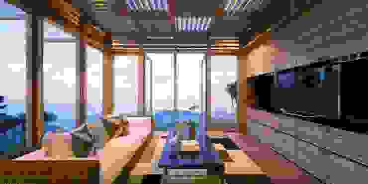 Lounge Villas View Hotel Tropis Oleh Skye Architect Tropis Kayu Wood effect
