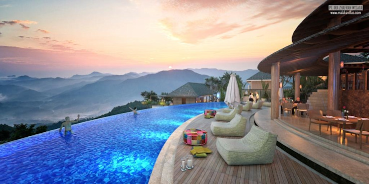 Restaurant & Pool Views Hotel Tropis Oleh Skye Architect Tropis Kayu Wood effect