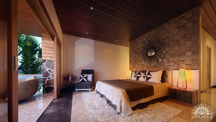 Bedroom View Hotel Tropis Oleh Skye Architect Tropis Kayu Wood effect
