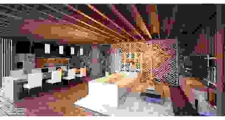 Salon tropical par Skye Architect Tropical Bois Effet bois