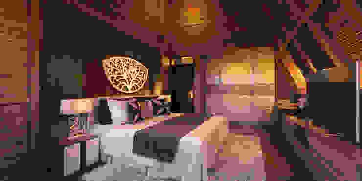 Chambre tropicale par Skye Architect Tropical Contreplaqué