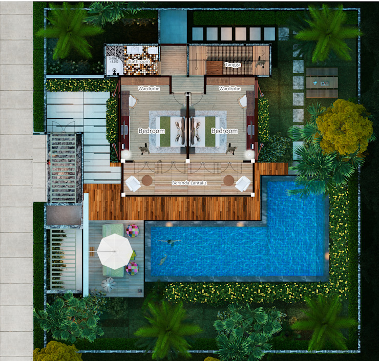 Lumbung Villas Kamar Tidur Tropis Oleh Skye Architect Tropis Kayu Wood effect